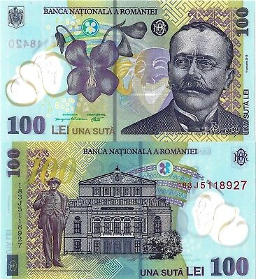Romania - Unc 100 Lei Banknote Issued 2018 Polymer #p121 Free Shipping