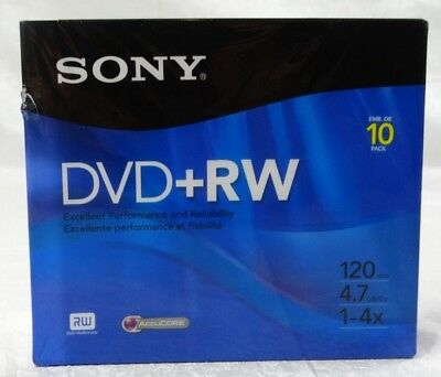 Sony DVD RW 10 Pack 120 minute 4.7Gb 1-4x NEW