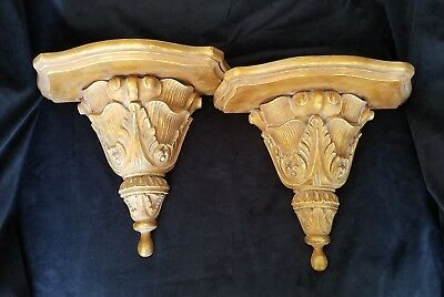 """2 Large Hand Carved Solid Wood Wall Sconces Shelves 12""""x10.5""""x6"""""""