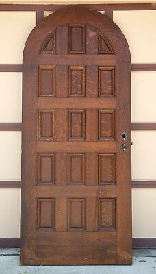 Beautiful Vintage Paneled Arch Top 7 Foot Oak Door Salvaged From Mansion