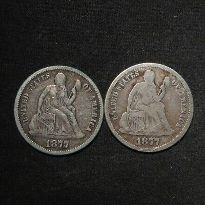 (2) Seated Liberty Dimes 10¢- 1877 and 1877-S - Nie Coins
