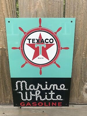 Texaco White marine  Gasoline Large metal sign baked Oil Gas Pump Plate
