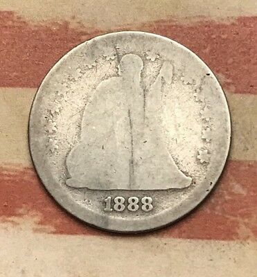 1888-S 25C Seated Liberty Quarter 90% Silver Vintage US Coin #UN122