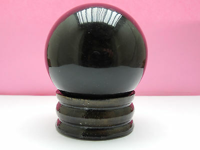 62mm BLACK OBSIDIAN SPHERE 299g  w/ stand: from INDIA; DECOR ;WICCA;FENG SHUI #2