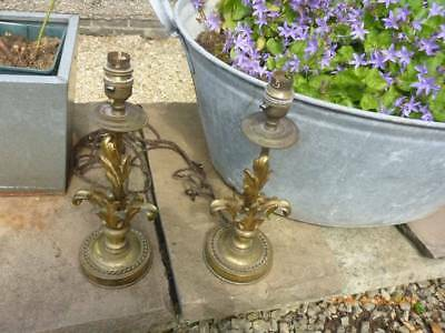 "Pair of Antique/Vintage Brass Foliage Table Lamps 13"" High"