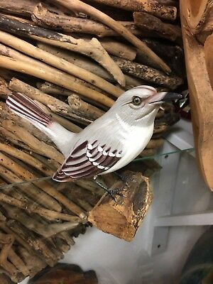 Hand Carved And Painted Mocking Bird