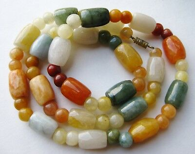 Fine Old Chinese Quartz Agate Carnelian Serpentine Beaded Necklace
