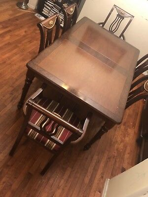 Dining room table and 6 chairs color cherry mahogany Canadian made