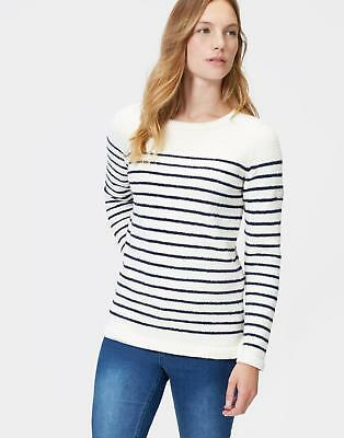Joules Seaham Womens Chenille Long Sleeved Jumper in Cream Colour