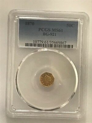 1870 California Fractional Gold Octagonal Half PCGS MS61 BG-921 - Low Rarity 5