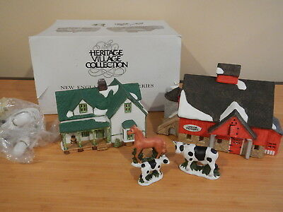 Dept 56 New England Village - Jacob Adams Farmhouse and Barn - Set of 5