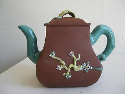 Fine Old Chinese Yixing Clay Zisha Pottery Teapot Enameled Tree Branches SIGNED!