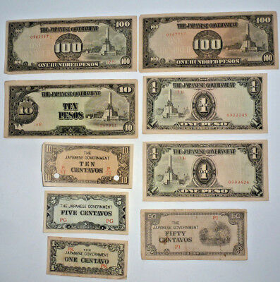 Japanese Government 1 centavo to 100 Pesos Banknote Collection of 9 bills