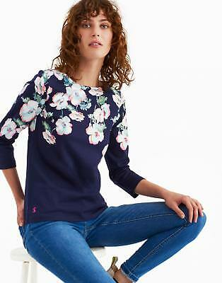 Joules Harbour Print Jersey Top Shirt in Navy Poppy
