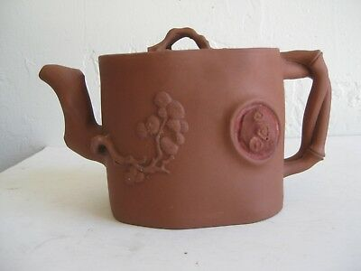 Fine Old Chinese Yixing Clay Zisha Pottery Teapot Tree Branches Relief SIGNED