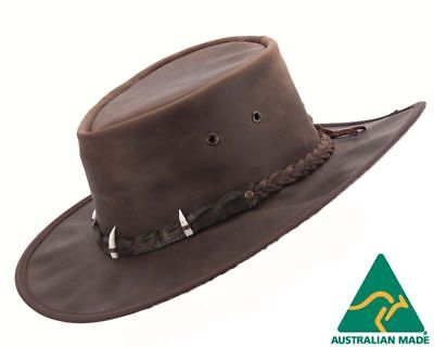 Barmah - Outback Bush Leather Hat with Crocodile Teeth - Dark Brown *New*