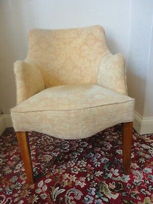 Vintage Armchair  Tub / Bucket Chair Gold / cream colour fabric