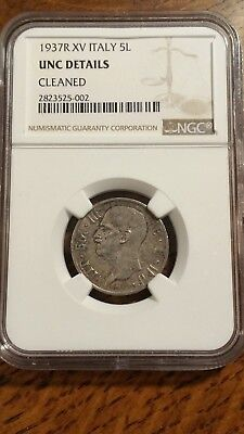1937 Italy 5 Lira Silver Coin NGC UNC Details  Scarce Date