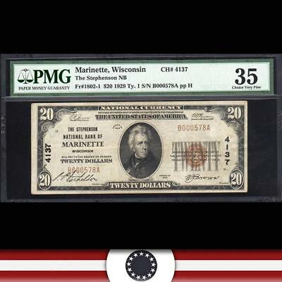 1929 $20 MARINETTE, WI National Currency PMG 35   B000578A