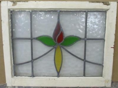 "MID SIZED OLD ENGLISH LEADED STAINED GLASS WINDOW Simple Floral 23.25"" x 18"".5"