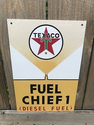 Texaco Fuel Chief Diesel 1 Gasoline Large metal sign baked Oil Gas Pump Plate