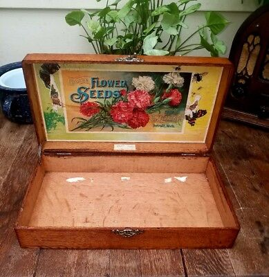 Antique D. M. Ferry & Co flower seed dovetailed tiger oak box, Detroit Michigan