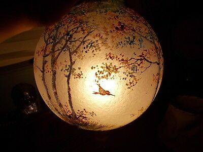 Antique Reverse Painted Frosted GWTW Forest Scene Glass Globe Lamp Shade