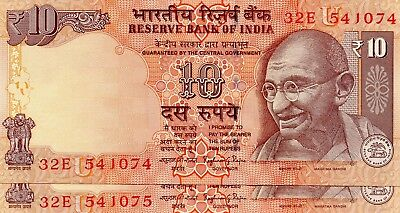 INDIA 10 Rupees 2015 P102 Letter U x 2 Consecutive UNC Banknotes