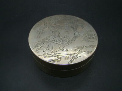 Chinese 1930's nice hand carved white copper big ink box (You Chang Long)  r8489