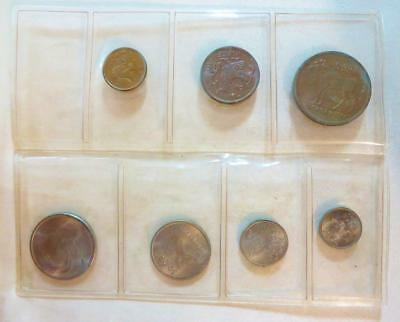 Norway, 7 Coin Uncirculated Coin Set 1963-64 In Holder, Free USA Shipping