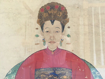 A Large Chinese Qing Dynasty Ancestor Portrait, Framed.