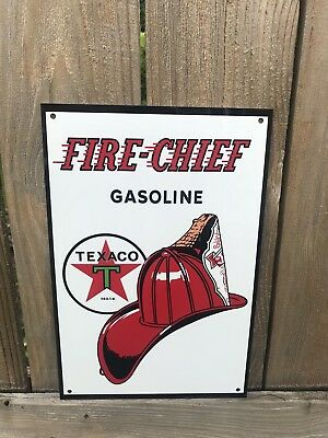 Texaco Fire Chief Gasoline metal sign baked Oil Gas Pump Plate