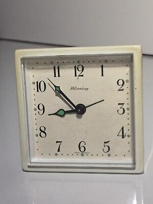 "Vintage Of 1970's ""BLESSING"" German Mechanical Move Traveling Alarm Clock"