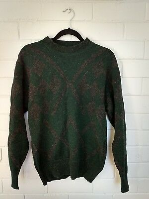 Vintage Green Pure Wool Jumper Size M