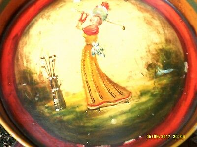 1940's Lady Golfer Folk Art Painted Toleware Tray--Signed by Peter Ompir