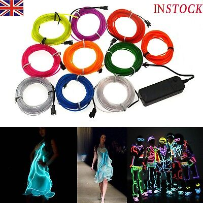 3/5M Battery Operated Luminescent Neon LED Lights Glow EL Wire String Strip Rope