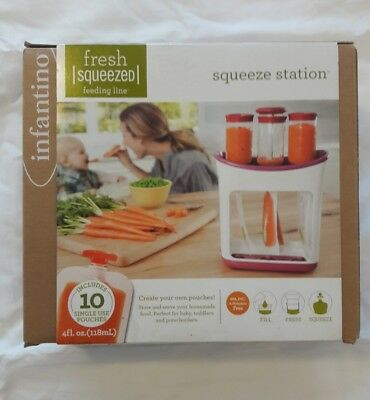 Infantino Fresh Squeezed Squeeze Station Baby Food Maker - 10 Pouches New In Box