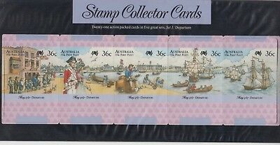 Stamps Australia First fleet Departure set of 5 collector cards in pack postmark
