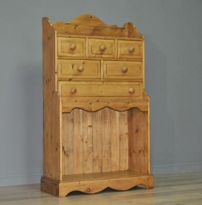 Attractive Vintage Rustic Pine Chest Of Six Drawers Bookcase