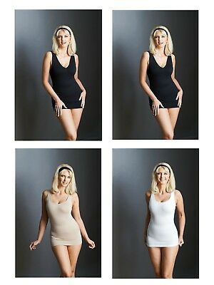 Bella Bodies Cami Shaping Reversible 4 Pk (Size 16-18) Blk Taupe White