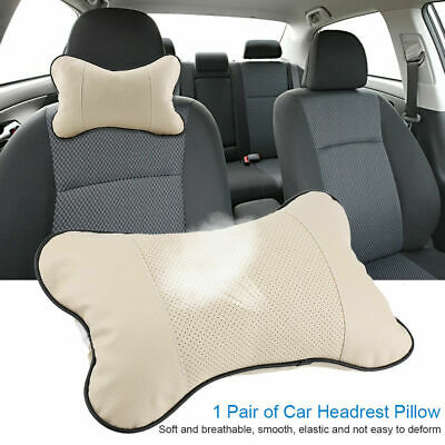 Travel Car Auto Seat Head Neck Cushion Rest Leather Pad HeadRest Bone Pillow