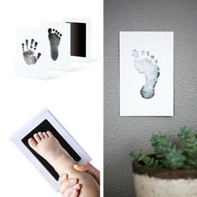 1 ink pad &2 papers Newborn Baby Handprint Footprint Inkless Clean Touch Ink Pad