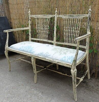 Antique Bench Love Seat Spindle Back Upholstered Distressed Paint