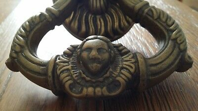 ANTIQUE VINTAGE HEAVY 1320gr BRONZE  BRASS LION HEAD DOOR KNOCKER