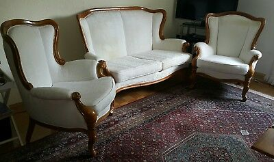 Stilmöbel Couchgarnitur Sofa + 2 Sessel