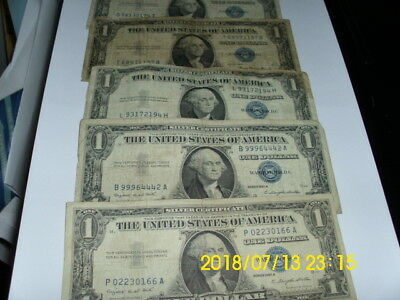 Lot Of 10 $1 Blue Seal Silver Certificate's Circulated 1935/1957