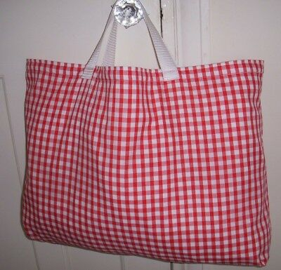 Knitting Bag Red & White Gingham Lined Crochet Sewing Christmas Gift Storage