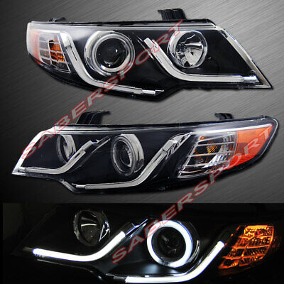 Set of Pair Black Projector Headlights w/ LED Halo Rims for 2010-2013 KIA Forte