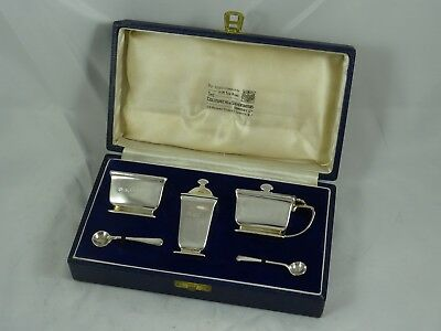 BOXED ART DECO solid silver CONDIMENT SET, 1936