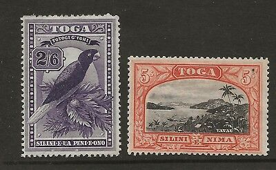TONGA  SG 52 & 53a  TOP VALUES OF 1887 WMK TORTOISES SET   MOUNTED MINT